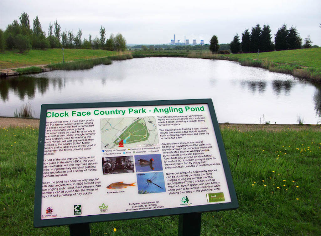 Clock Face Country Park angling pond managed by Clock Face Anglers Club