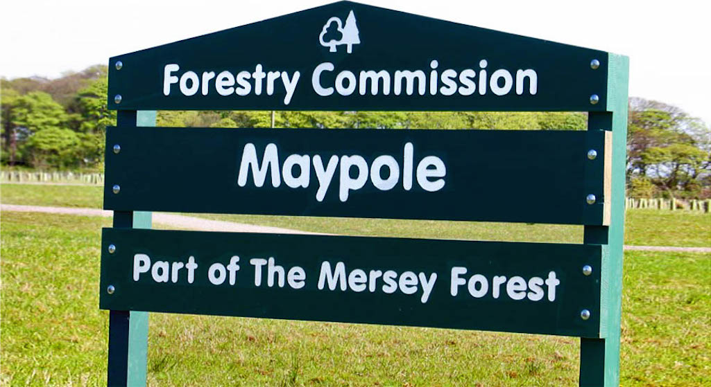 Maypole Wood sign by the Clock Face Country Park in Sutton, St Helens