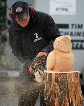 Chainsaw sculptor at the Wood Works festival - Photograph courtesy Mersey Forest