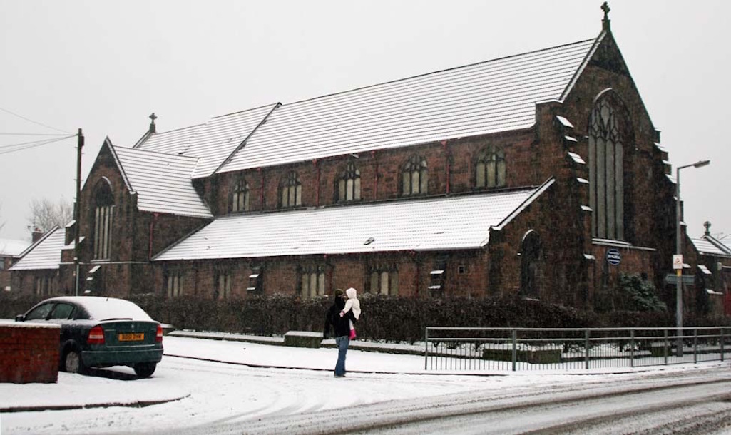 All Saints Church in Sutton, St Helens looking beautiful in the snow