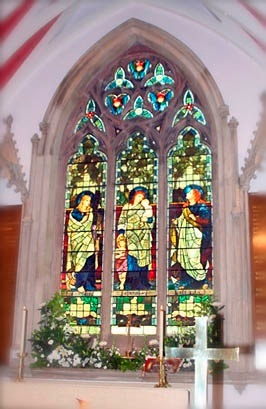 Stained glass window in St.Nicholas church in Sutton, St.Helens