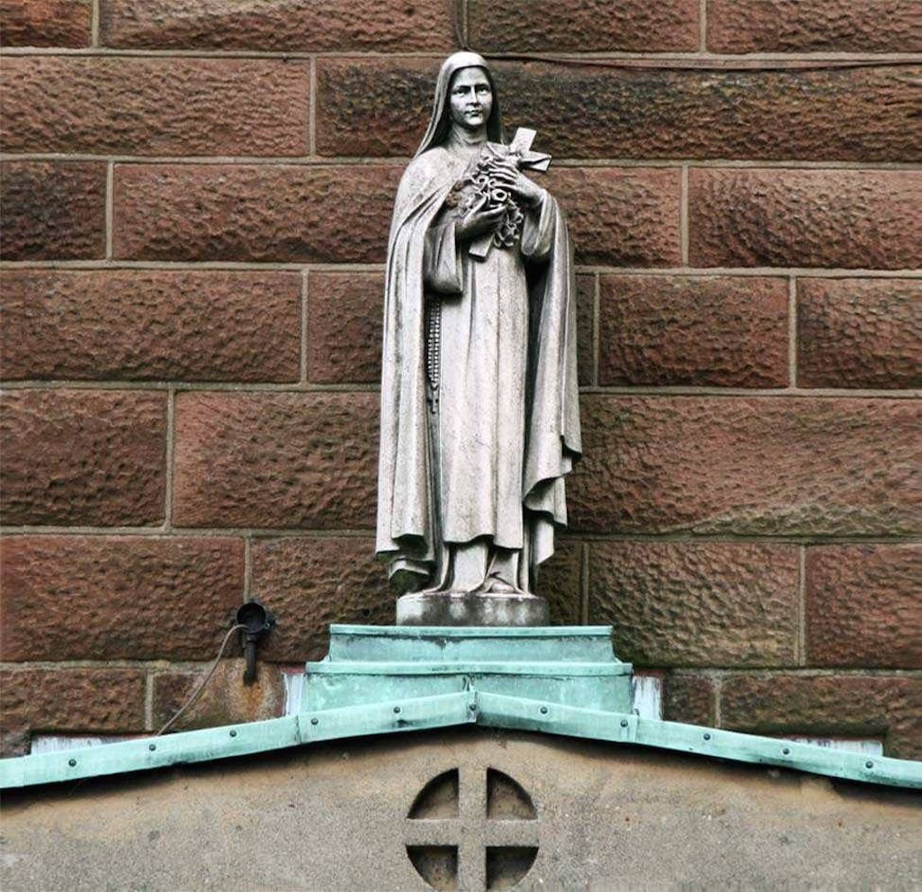 Statue outside St.Theresa church, Gartons Lane, St.Helens