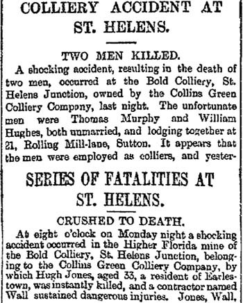 Reports of Bold Colliery deaths