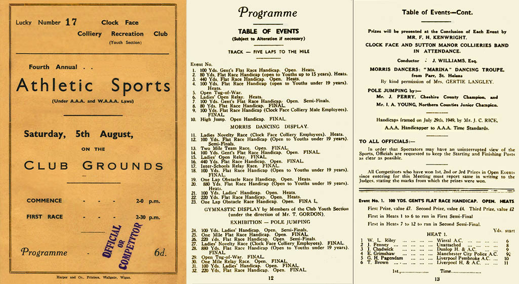 Programme for the Clock Face Colliery Recreation Club Athletic Sports 1950