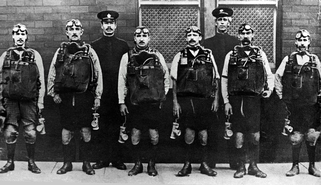 The six members of the Clock Face Colliery Rescue Team