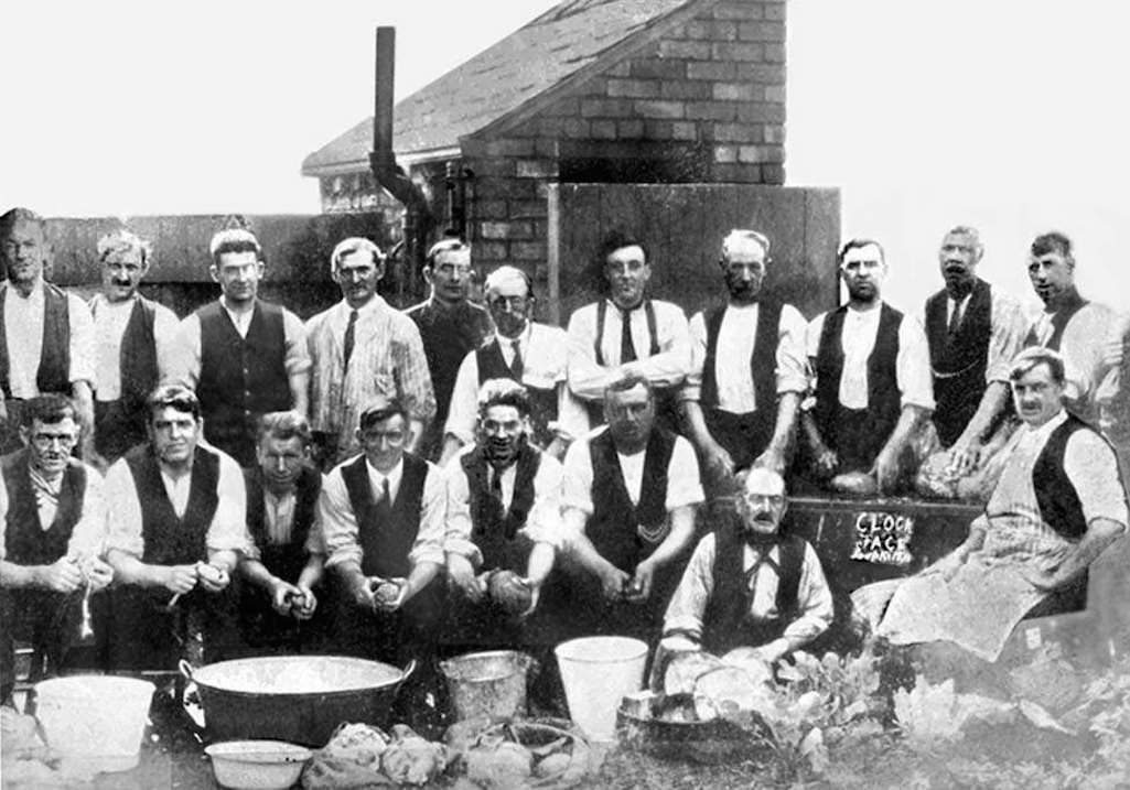 Men preparing food for the soup kitchen at Clock Face in September 1926 during the miners' lockout