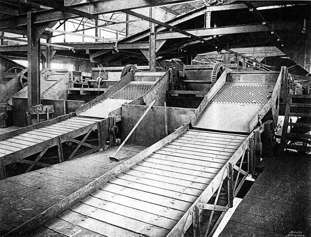 Inside the Clock Face Colliery screens building
