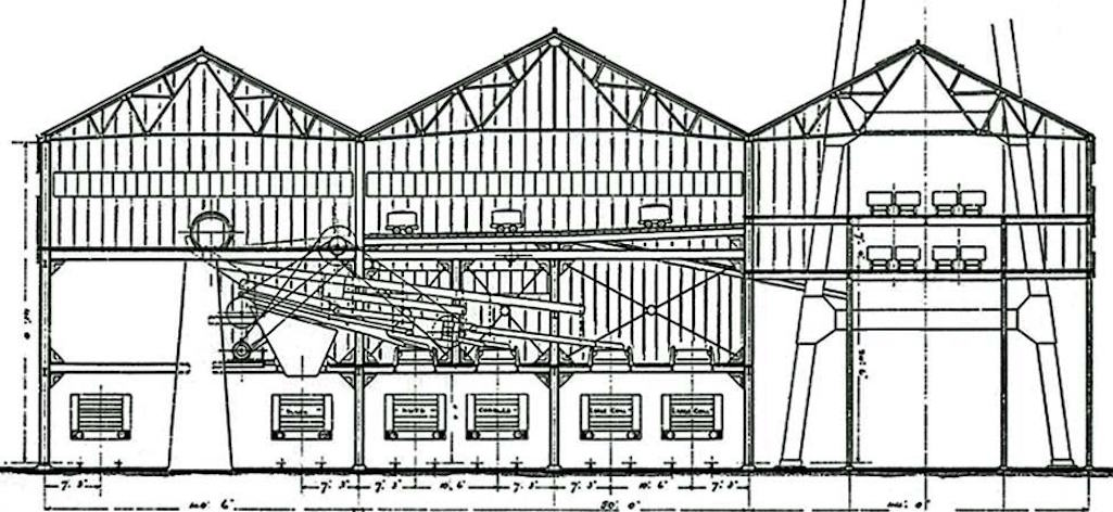 Sectional drawing of Clock Face Colliery Screens building