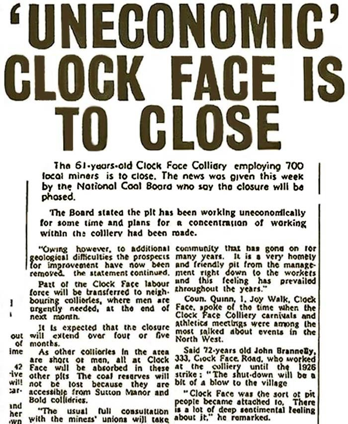 Clock Face Colliery Closure St Helens Reporter 1965