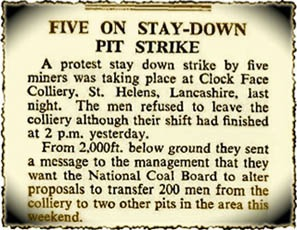 The Times report from November 25th 1965 of pit strike at Clock Face Colliery, St.Helens
