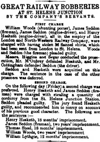 Great Railway Robbery - St.Helens Newspaper from 18/7/1865