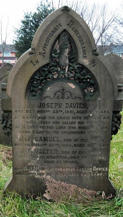 The grave of Joseph and Ann Davies and their two sons Samuel and Walter in Sutton Parish Churchyard at St.Nicholas