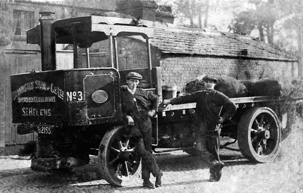 James Prescott (left) with Bob Bridge of Cannington & Shaw with their steam wagon