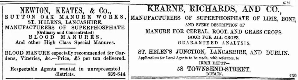Newton, Keates & Co. advert from October 1875 and Kearne, Richards & Co. from November 1884