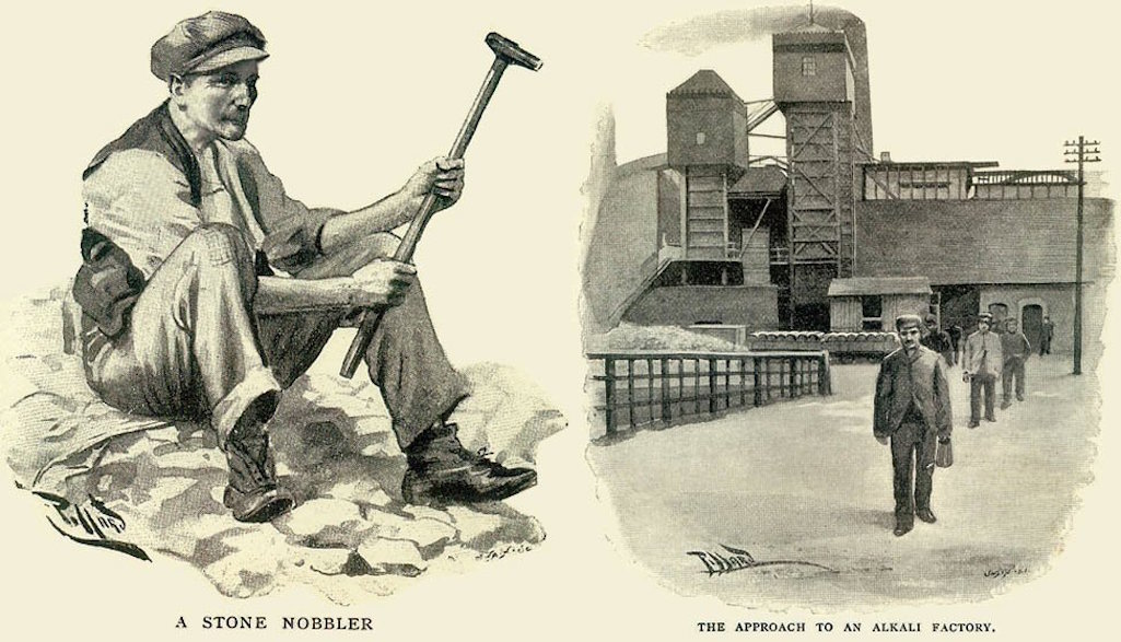Illustrations by Harold Piffard of a stone nobbler and approach to an alkali factory in Sr.Helens and Widnes in 1896
