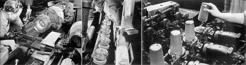 Sherdley glass engraving of a mould body by lathe, fire polishing of glassware and acid etching of tumblers