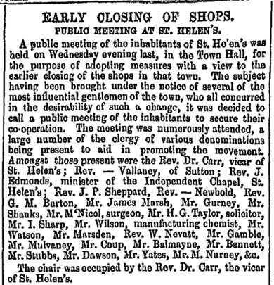 Liverpool Mercury report on early closing in St.Helens in 1855