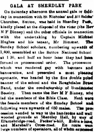 St.Helens Reporter account of gala in Sherdley Park, 1895