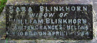 Sara Blinkhorn grave - Contributed by Andrea Ruddick