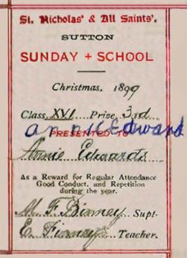 Annie Edwards of  Waterdale Crescent, prayer book, Sutton, St.Helens