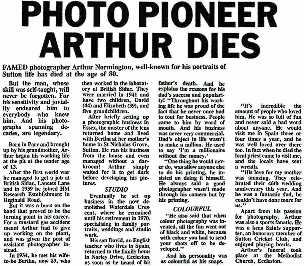 Arthur Normington St.Helens Reporter obituary
