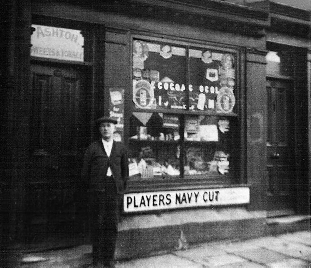 James Ashton and his sweet shop at 95 Peasley Cross Lane, St.Helens next door to the Hawk & Buck on the corner of Manor Street - Contributed by Ivy Swift
