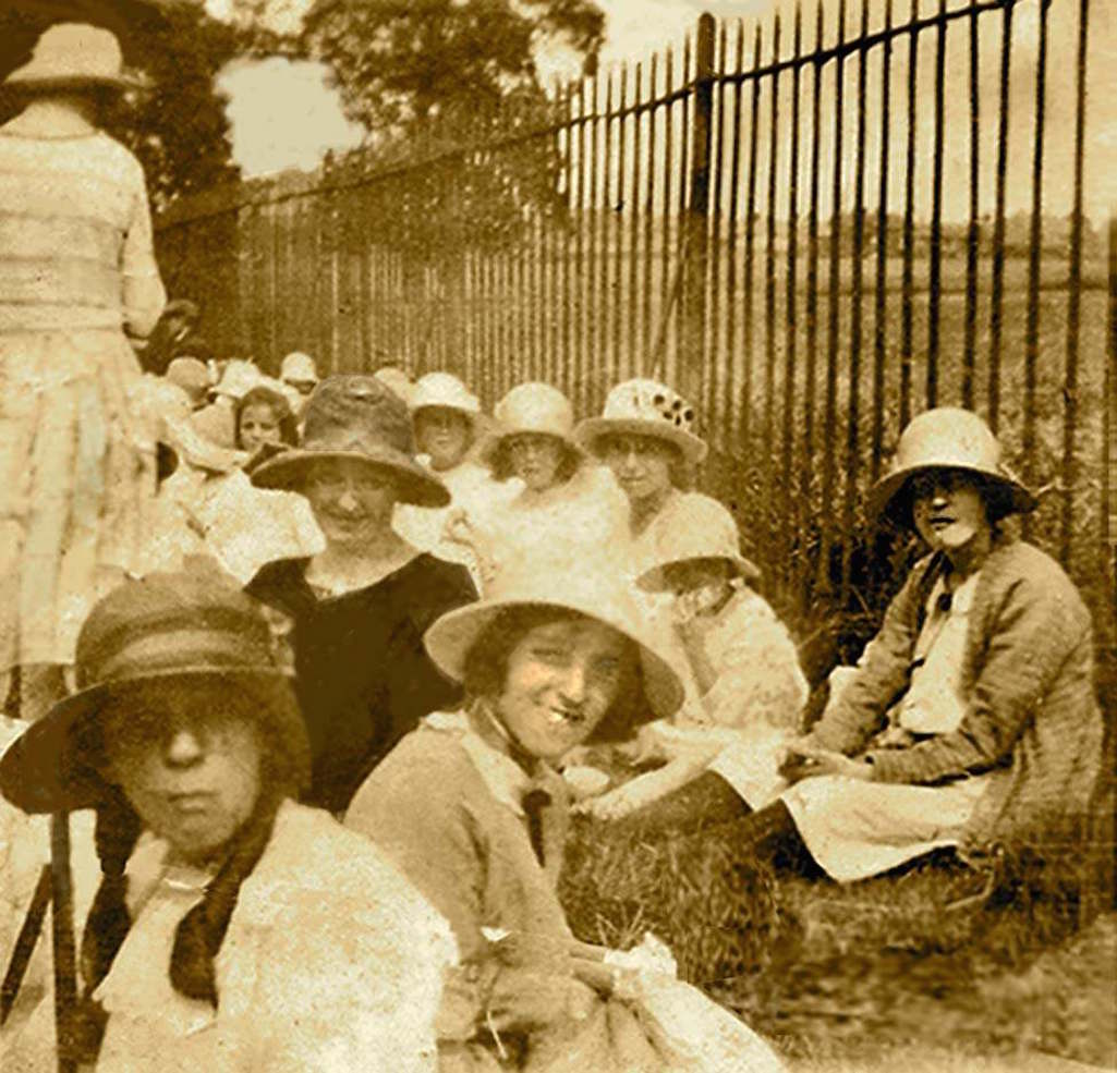 Enjoying a tea party in Sherdley Park, Sutton, St.Helens in 1923