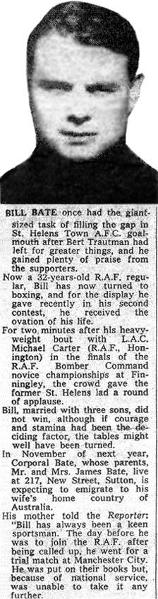 St.Helens Reporter article on goalkeeper Bill Bate