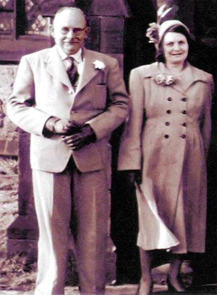 Peter and Ada Rigby outside St.Nicholas Church, Sutton, St.Helens