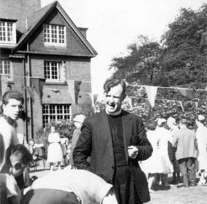 Rev. Reg. Smith at a garden party at the vicarage in Sutton, St.Helens
