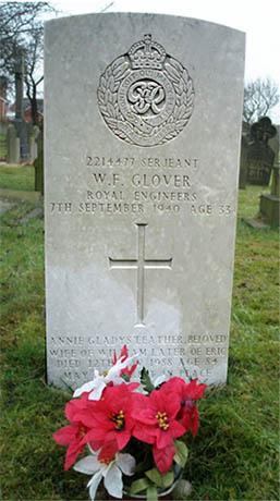 Sgt. W.F. Glover memorial in St.Annes graveyard, Sutton, St.Helens