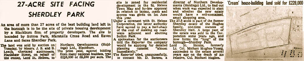St.Helens Reporter account of the sale of former Sherdley estate land for the building of a housing estate in Sutton, St.Helens