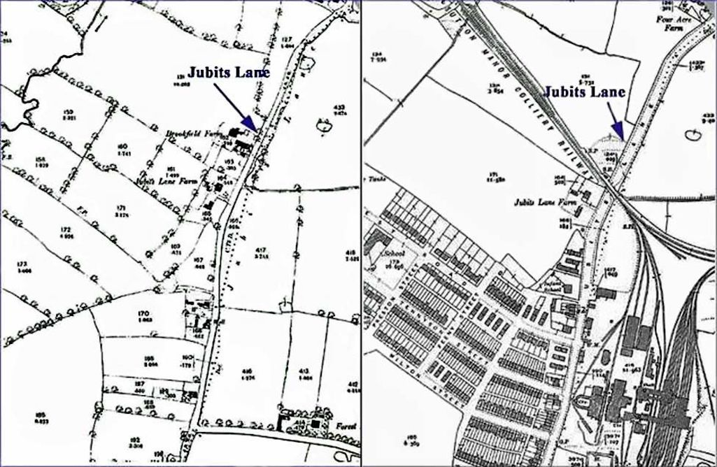 How Sutton Manor has changed - in 1893 (left) there's just a few farms and in 1937 there's a mix of agricultural, residential and industrial land with the colliery and its railway