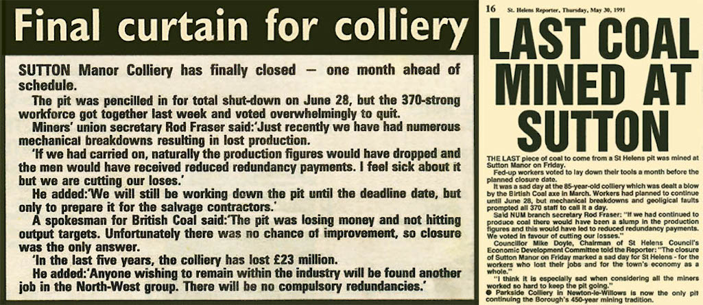 Newspaper cuttings of the last coal mined in Sutton, St Helens with the closure of Sutton Manor Colliery.