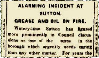 St.Helens Reporter article from 1915 on Sutton Brook on fire