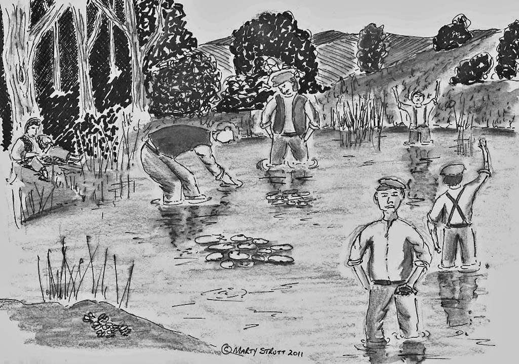 Illustrator Marty Strutt depicts the scene with the lad at the front with frog in hand talking to a reporter on the bank