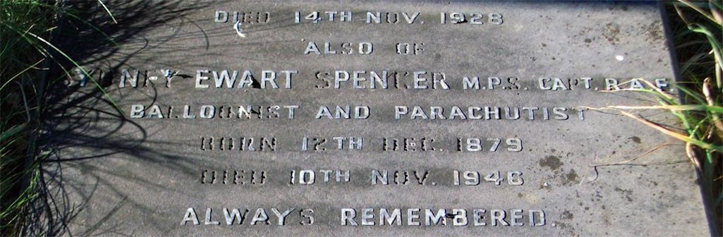 Memorial to balloonist Sydney Spencer in Sutton Parish graveyard, St.Helens
