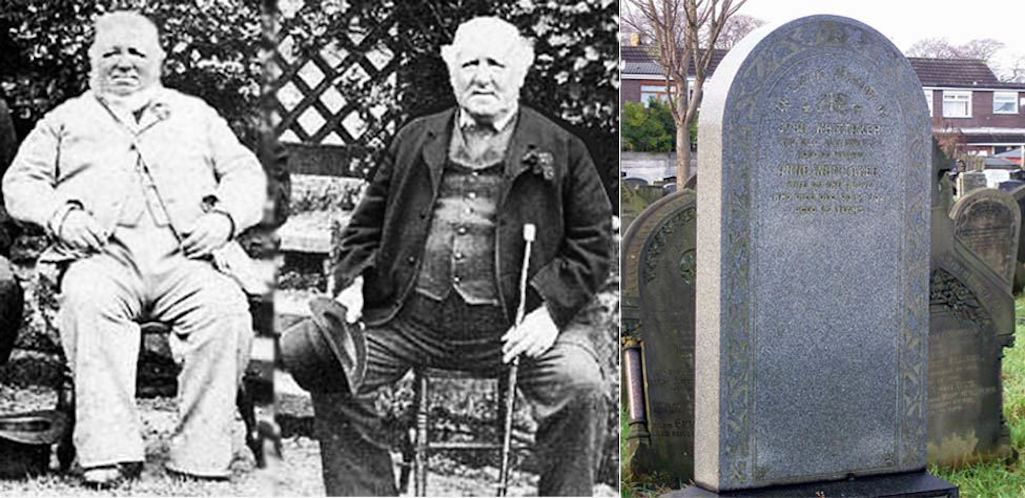 22 stone Joseph Jackson and 18 stone Charles Rigby and John Whittaker's grave in Sutton Parish Churchyard