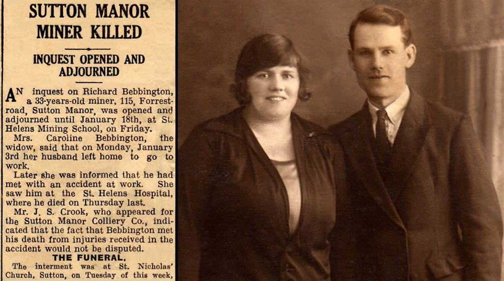 Richard Bebbington, miner at Sutton Manor Colliery, pictured with wife Caroline