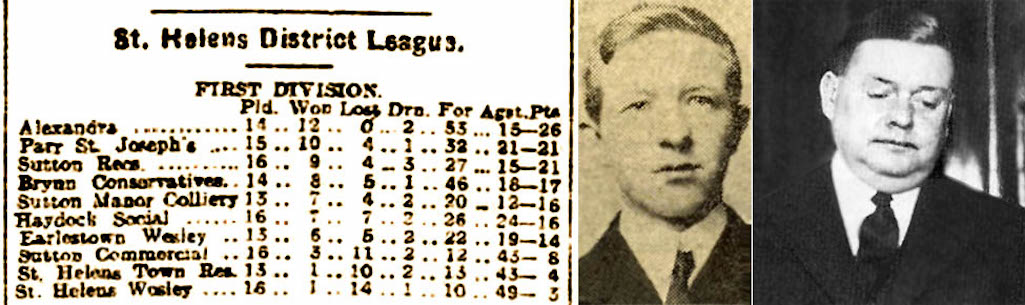 Liverpool Evening Express 24/1/1914; Pte. Joseph Halsall & Miners  Agent Joe Tinker in 1935
