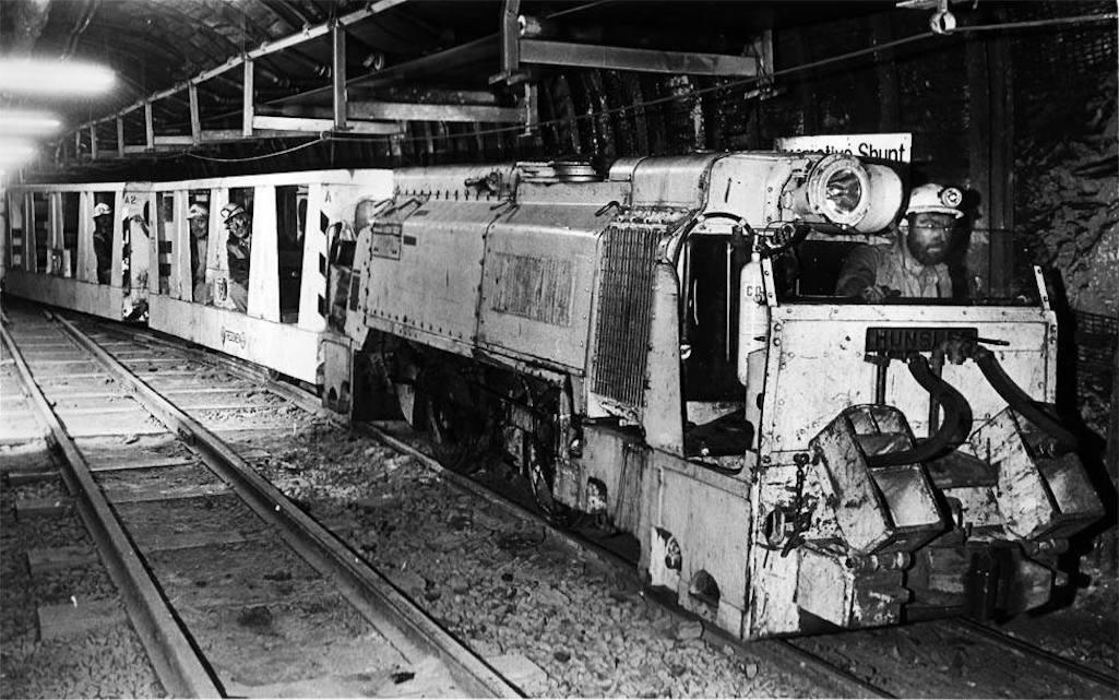 Underground locomotive in Sutton Manor Colliery