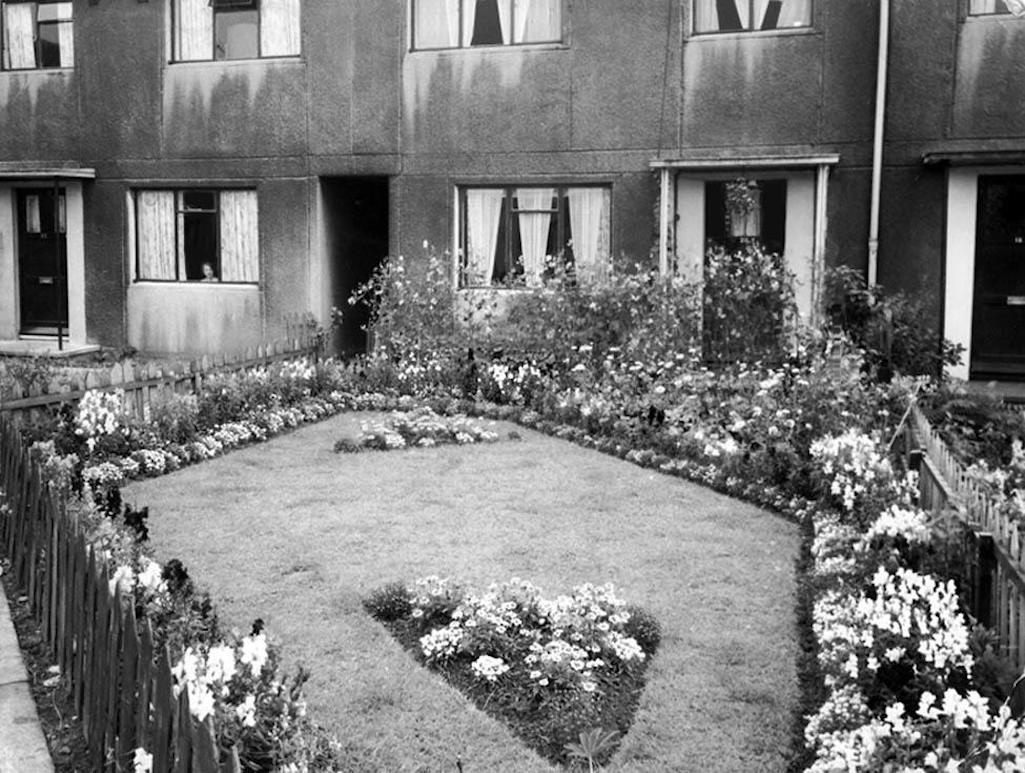 House and garden of Sutton Manor Colliery miner Albert Rigby from Ditton who often won NCB garden competitions