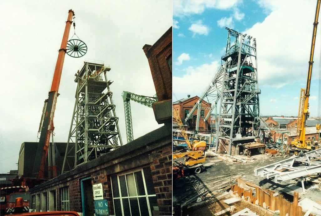 Work to electrify the no.1 pit's steam winder and shaft at Sutton Manor colliery by Qualter Hall in 1986