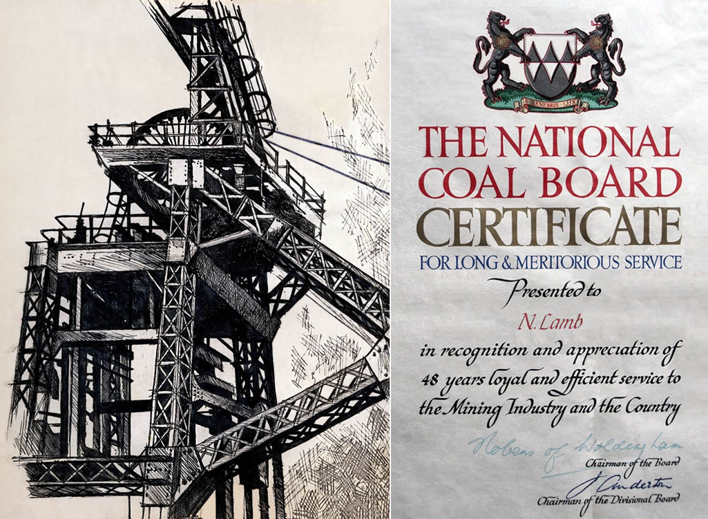 The certificate awarded to Noah Lamb who spent 48 years at Sutton Manor Colliery