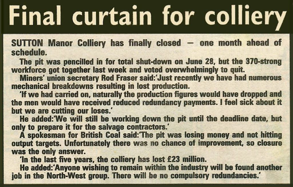 St.Helens newspaper cutting on the closure of the Sutton Manor Colliery, St.Helens