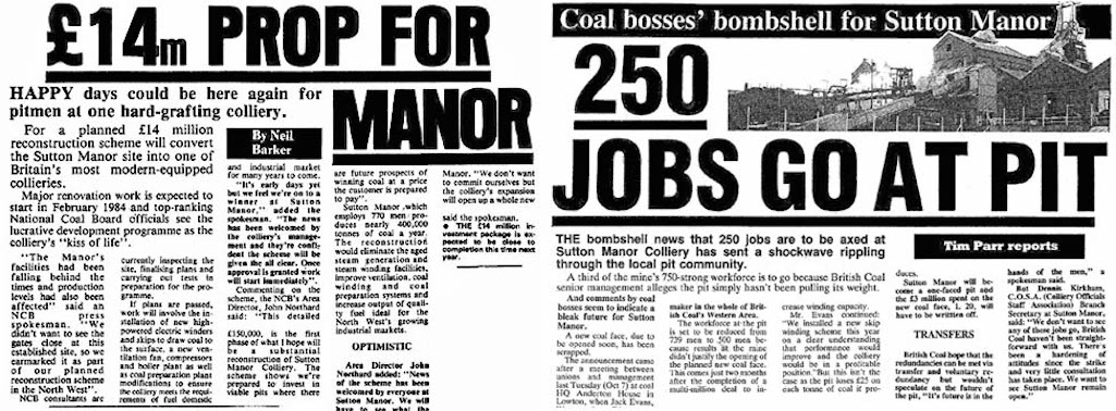 St.Helens Star newspaper articles on Sutton Manor Colliery in St.Helens