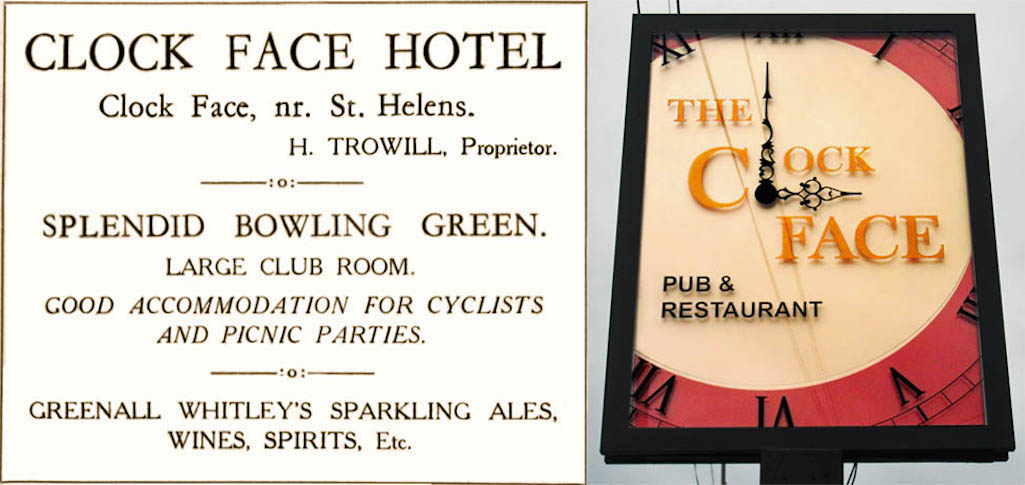 Clock Face Hotel advert in the 1931 programme for the foundation stone laying of St. Theresa's RC Church plus modern-day pub sign