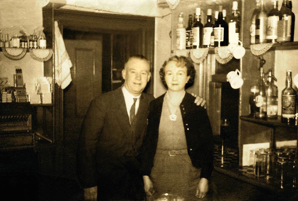 Tom and Emily Fairclough, landlord and landlady of The Victoria Vaults in Sutton, St.Helens 1956
