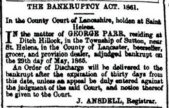 George Parr bankruptcy 1865