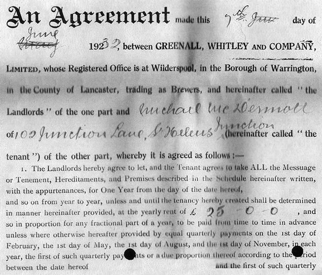 Greenall Whitley's tenancy agreement with Michael McDermott to run the Junction Inn dated June 1932